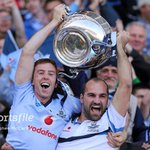 Five years to the day; Dublin captains John McCaffrey, left, and Stephen Hiney lift the cup. #AllianzLeagues #GAA https://t.co/QSdiGQbzrh