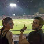 Watching #RPSvsMI Live in Pune with the lovely @NargisFakhri. The buzz here is absolutely amazing! https://t.co/cBm0bJrEaj