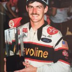 Davey Allison poses with the Winston 500 trophy after picking up his first career Winston Cup win. (Talladega 1987) https://t.co/ysc6cYmfYG