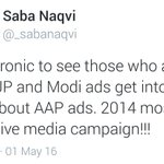 Lok Sabha polls are coming up, thats why @_sabanaqvi compared Modis 2014 campaign with Kejrus daily ad sickness https://t.co/xPAIUK1Ffa