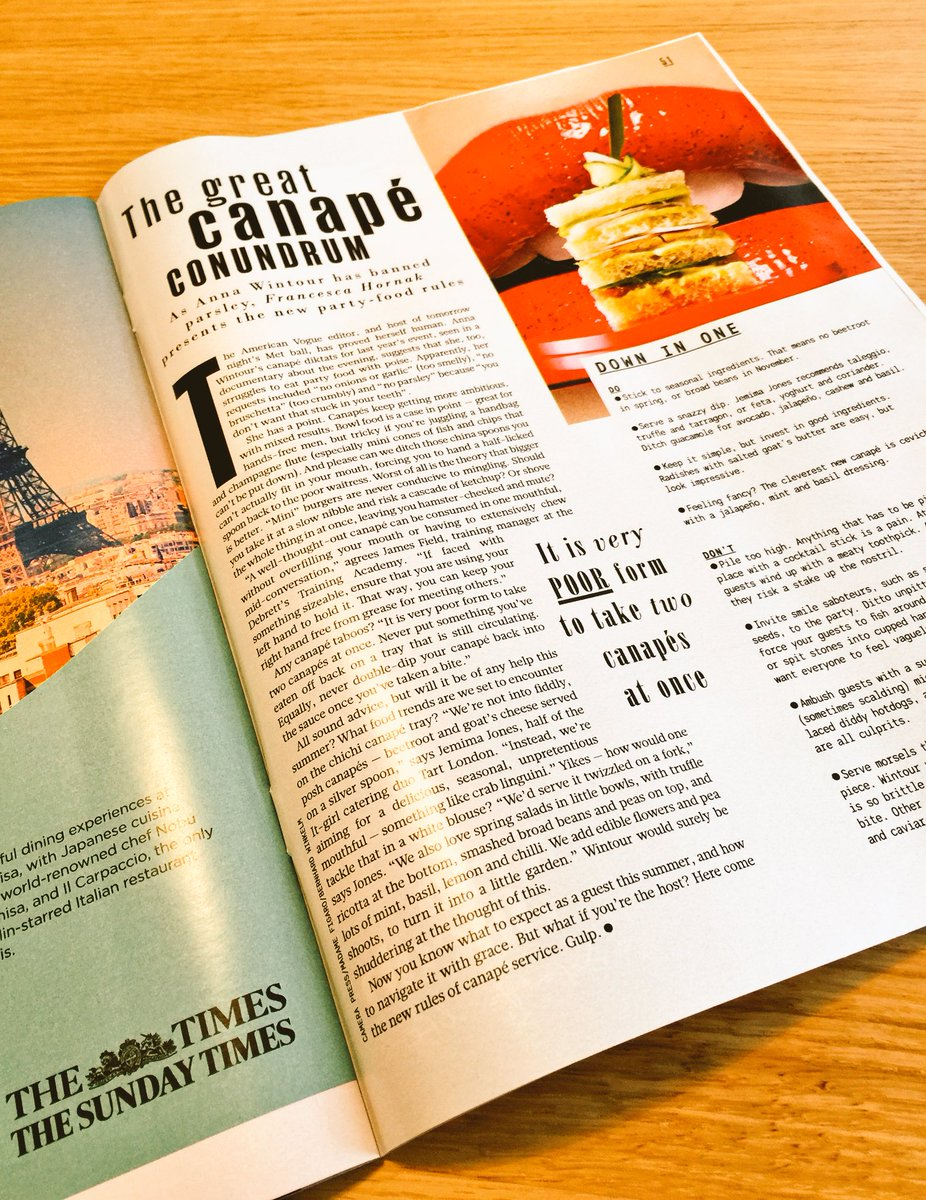 A few words from me in a great article from @FrancescaHornak for The Sunday Times #TheSTStyle #canape #etiquette https://t.co/FTjypFYxmR