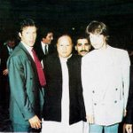 Imran Khan with Nusrat Fateh Ali Khan and The Rolling Stones lead vocalist Mick Jagger | 1993 https://t.co/Mx6FCV2Z6g