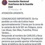 Carlos tiene 6 años y ha desaparecido en Pelayos #Madrid Ayúdanos a encontrarlo Si le ves 📞062 📞112 Dale RT https://t.co/bIJXlILZSp