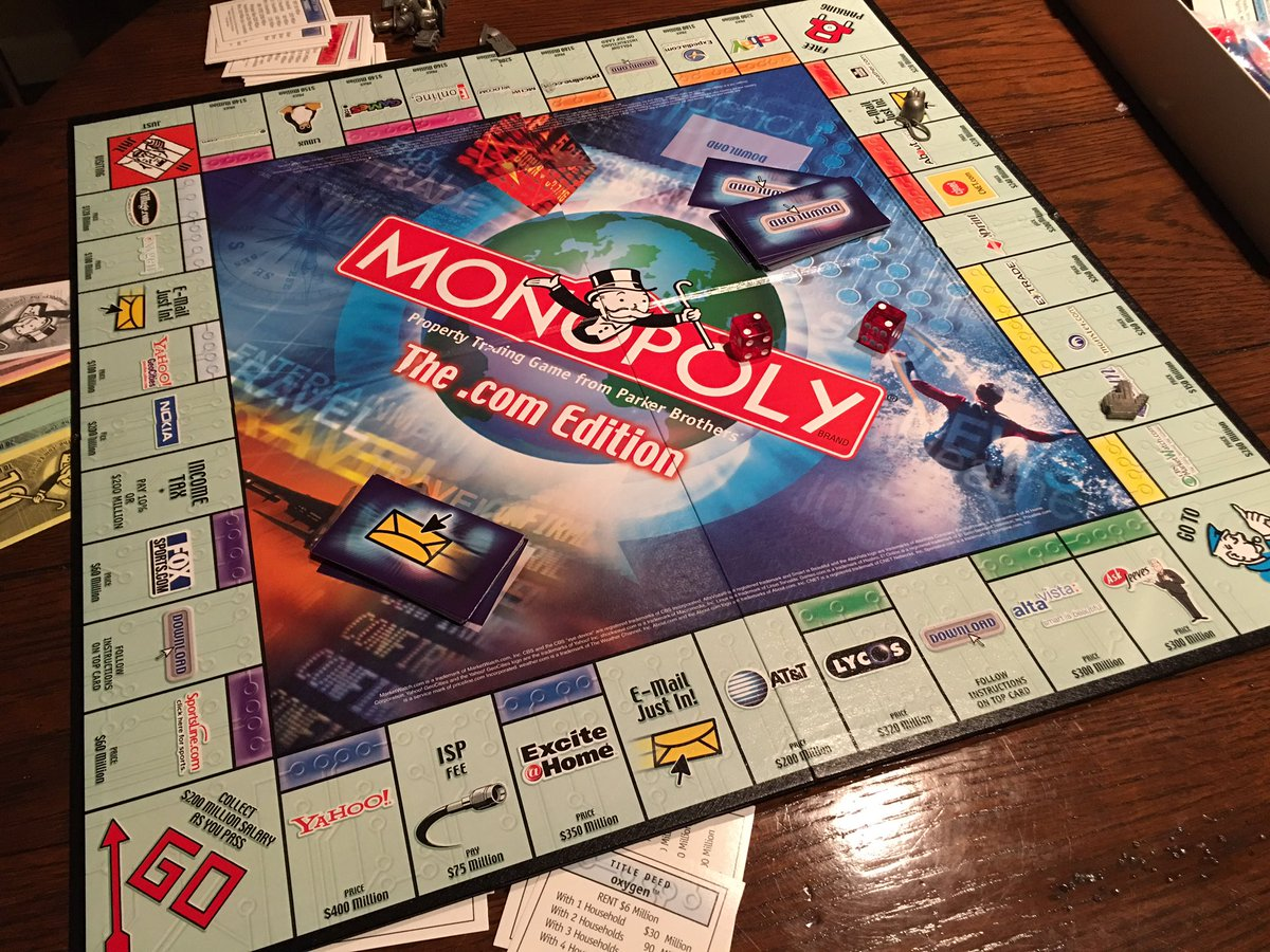 "Monopoly, the "".com edition"" circa '00. Yahoo & Excite@Home #1, #2 says a lot about tech. Google, Amazon not listed. https://t.co/jY40OAlbrS"
