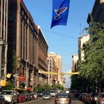 """Hey St. Louis, all together now: """"LETS GO BLUES!!!"""" #StanleyCupPlayoffs #WeAllBleedBlue ???? @downtownstlouis https://t.co/N9Fj4fCBSa"""