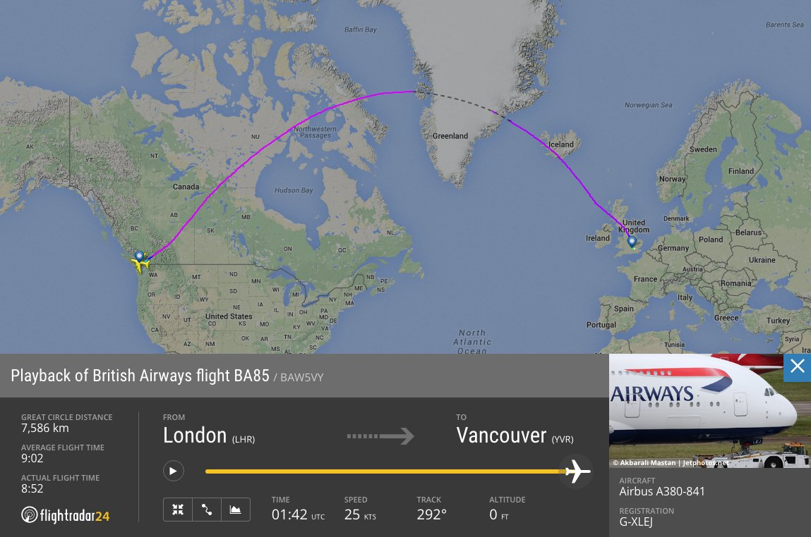 RT @flightradar24: The 4th A380 inaugural of the day—@British_Airways to @yvrairport—has landed. YVRA380 https://…