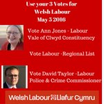 Vote Labour 3 times on May 5 to elect a Welsh Labour government! https://t.co/p6ETcCReyA