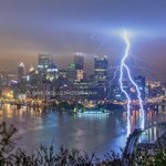 Lightning strikes the river this morning in #Pittsburgh during one of the most fierce storms Ive ever been out in https://t.co/cKsKj964HG