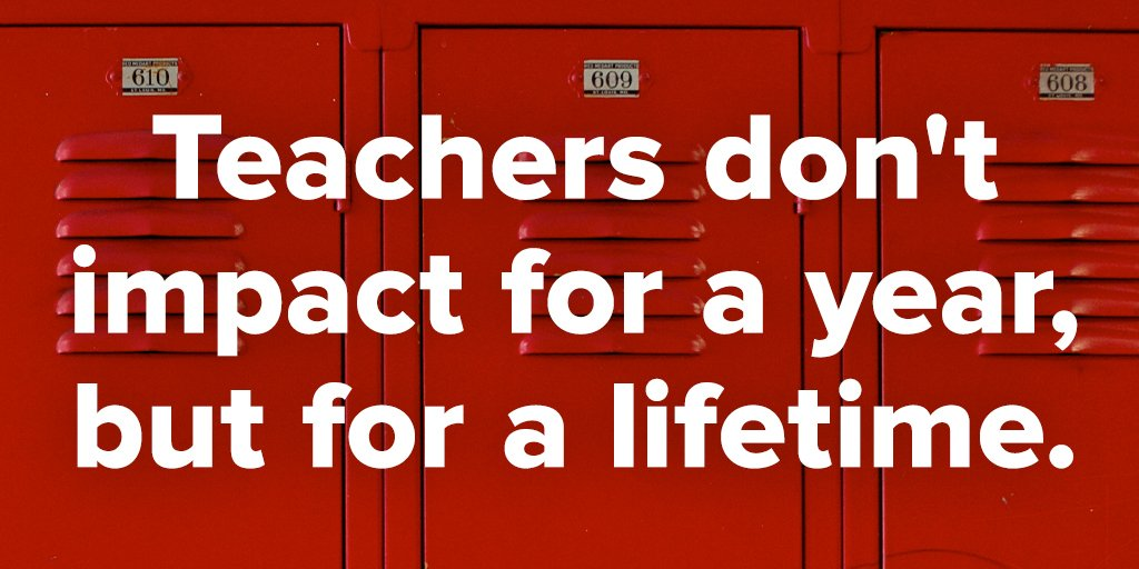 """Teachers don't impact for a year, but for a lifetime."" #MotivationMonday #TeacherAppreciationWeek #ThankATeacher https://t.co/vSw2bRllUb"