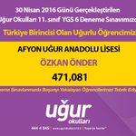 Afyon Uğur Anadolu Lisesi öğrencimiz ÖZKAN ÖNDER ri ve öğretmenlerini kutluyorum. https://t.co/FlL7mShNrg