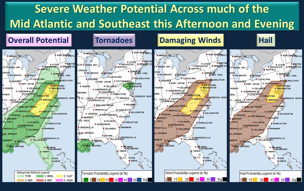 National Weather Service Potential For Severe Weather This Afternoon And Evening Across Mid Atlantic Into Southeast Regions
