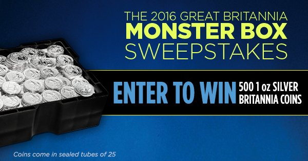 Enter to win a Monster Box of 500 2016 1 oz Silver Britannias! See sweepstake rules at: https://t.co/cRocsbkTxJ https://t.co/7l9oMjpmkQ