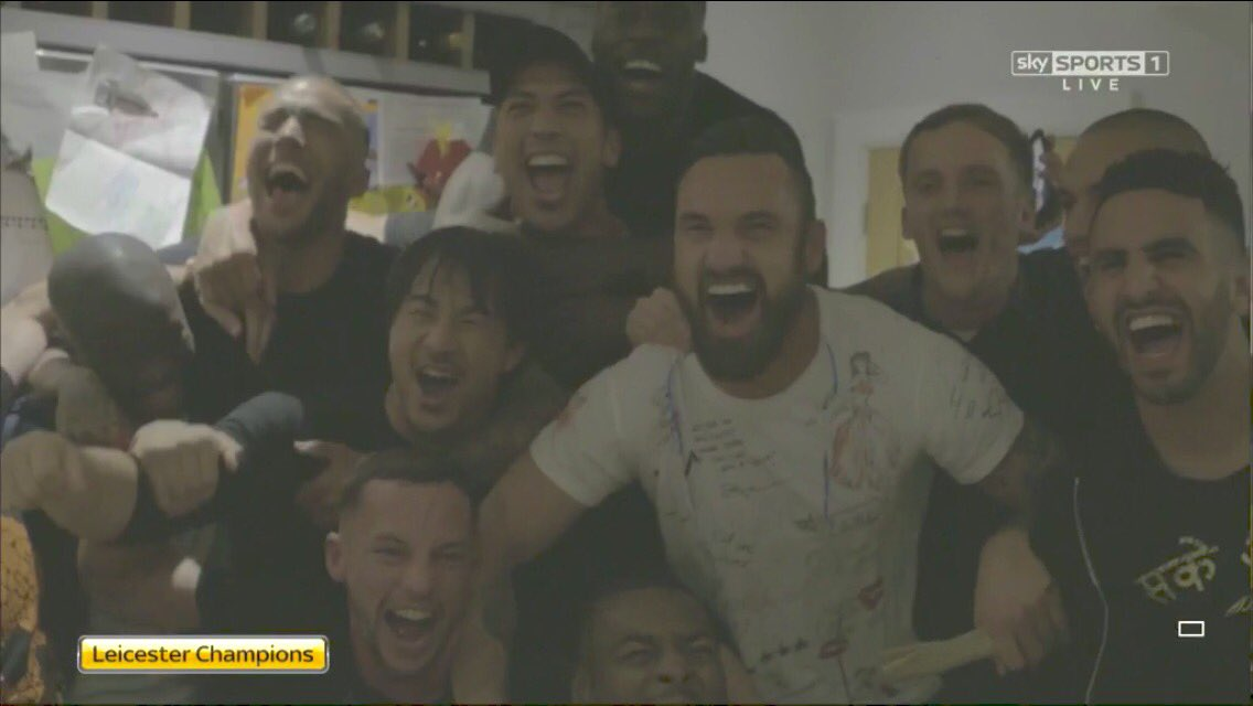 Leicester City players celebrations! @vardy7 home @LCFC  岡崎慎司らレスターの選手たちがバーディーの家で優勝を祝ってます。@okazakiofficial https://t.co/KlGw7JjqW8