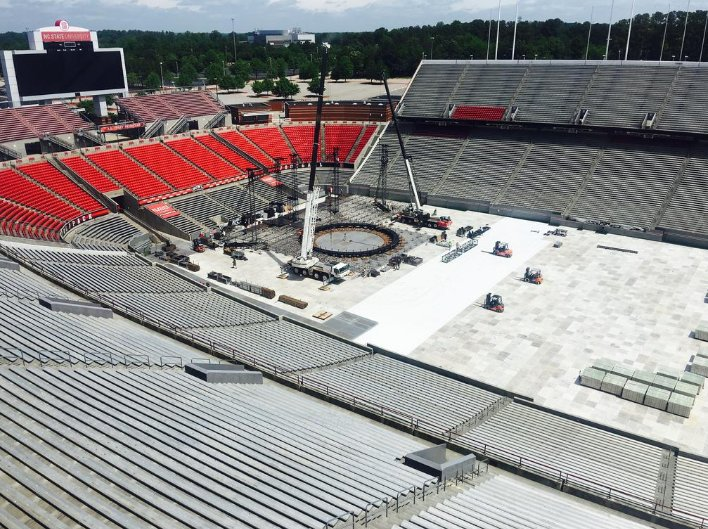 Beyonce's stage going up at Carter Finley (photo from TBJ) https://t.co/7tda1npt4M