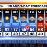 INLAND: Sunny start to week #SanDiego. WHOA! Windy & cold storm moves over SD late Thu.-Sat. https://t.co/33K5gVBNrw