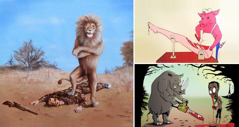 Wow -> 37 Illustrations Showing Animals Treating Us the Way We Treat Them  https://t.co/mxXzoEKvao #vegan https://t.co/HxaUcuihXX