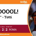 77° #GenoaRoma 2-2: Goal di Francesco Totti (Roma). Assist di Daniele De Rossi! https://t.co/YnBm6lhrNb https://t.co/jFs6Bf4PSR