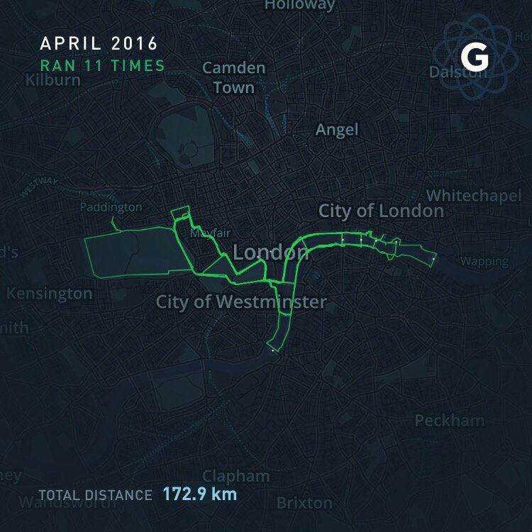 Liking what @gyroscope_app did with my running tour of London Bridges in April