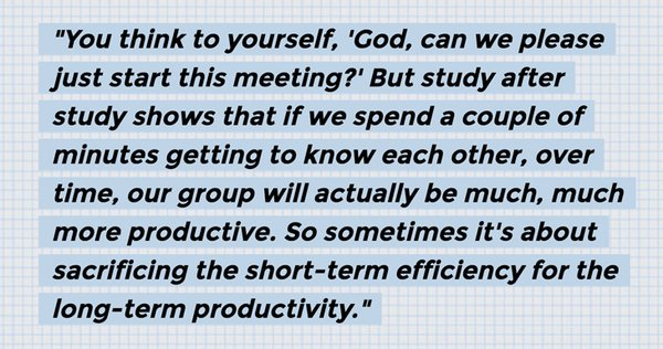 "Surprisingly, that ""chit-chat"" at the start of your meeting may actually increase productivity. Via @Freakonomics https://t.co/4qmpmp6Wil"