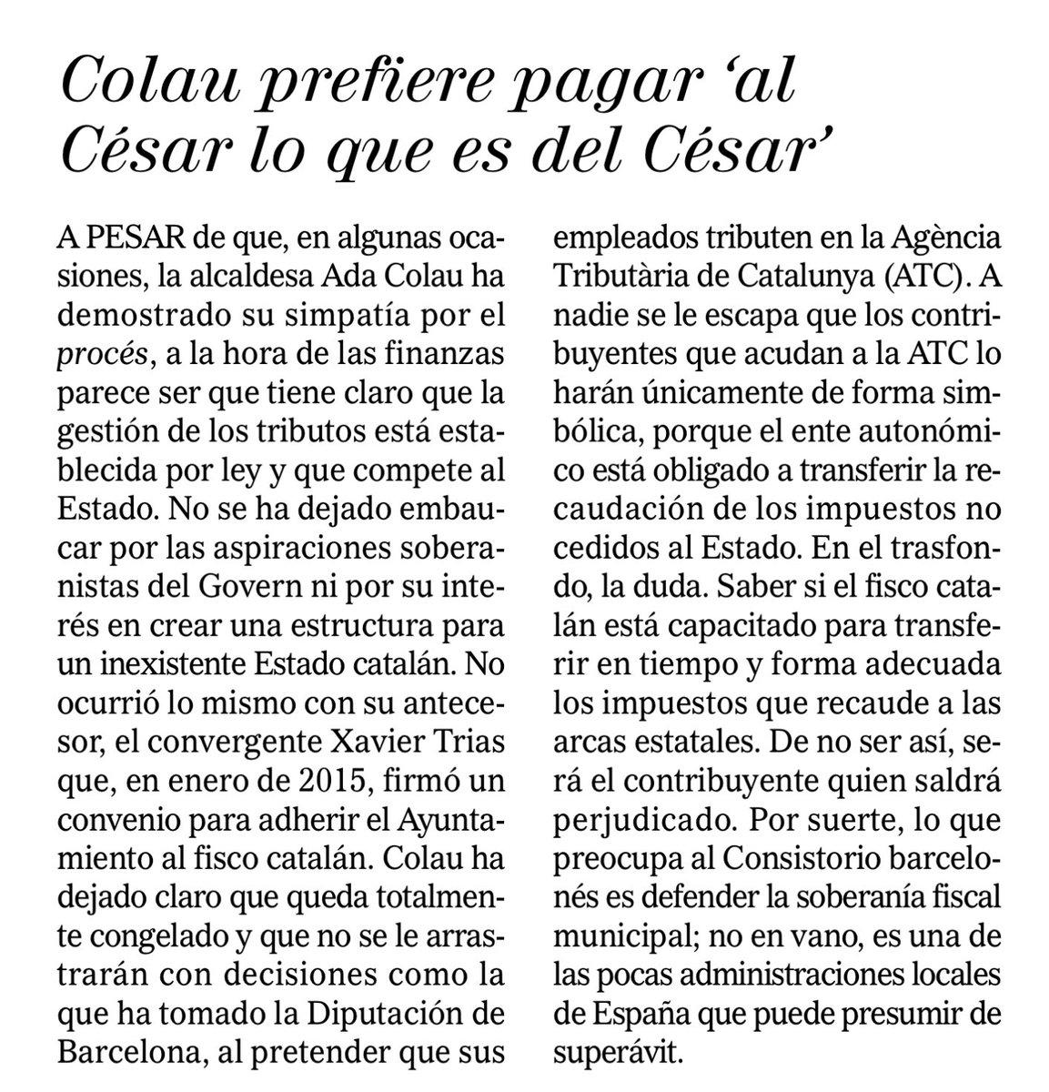 """El Mundo elogia l'alcaldessa @AdaColau, que """"no se ha dejado embaucar por las aspiraciones soberanistas del Govern"""". https://t.co/hz9EoTwZVd"""