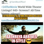 #24TheMovie All Time Record Release In Overseas .. Still More Screens To Be Added.. Aathreya Arrives In Style ???? https://t.co/ILTizzCNL5