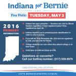 Indiana – you vote tomorrow, May 3. Lets make it the biggest voter turnout in Indiana Democratic primary history. https://t.co/qZ07sBq5h7