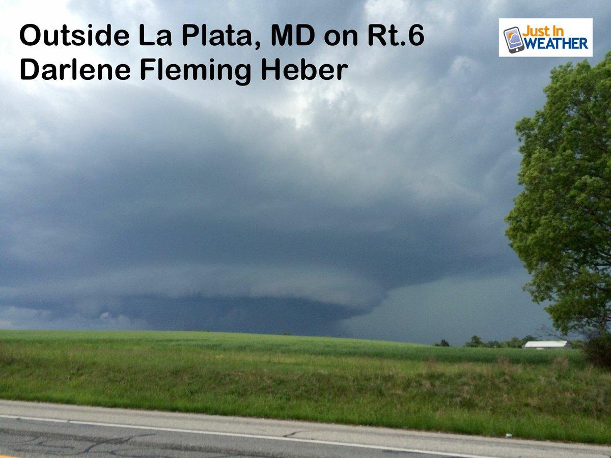 Tornado near La Plata MD? Darlene Heber caught this rotating wall cloud during a warning @JimCantore @TonyPannWBAL