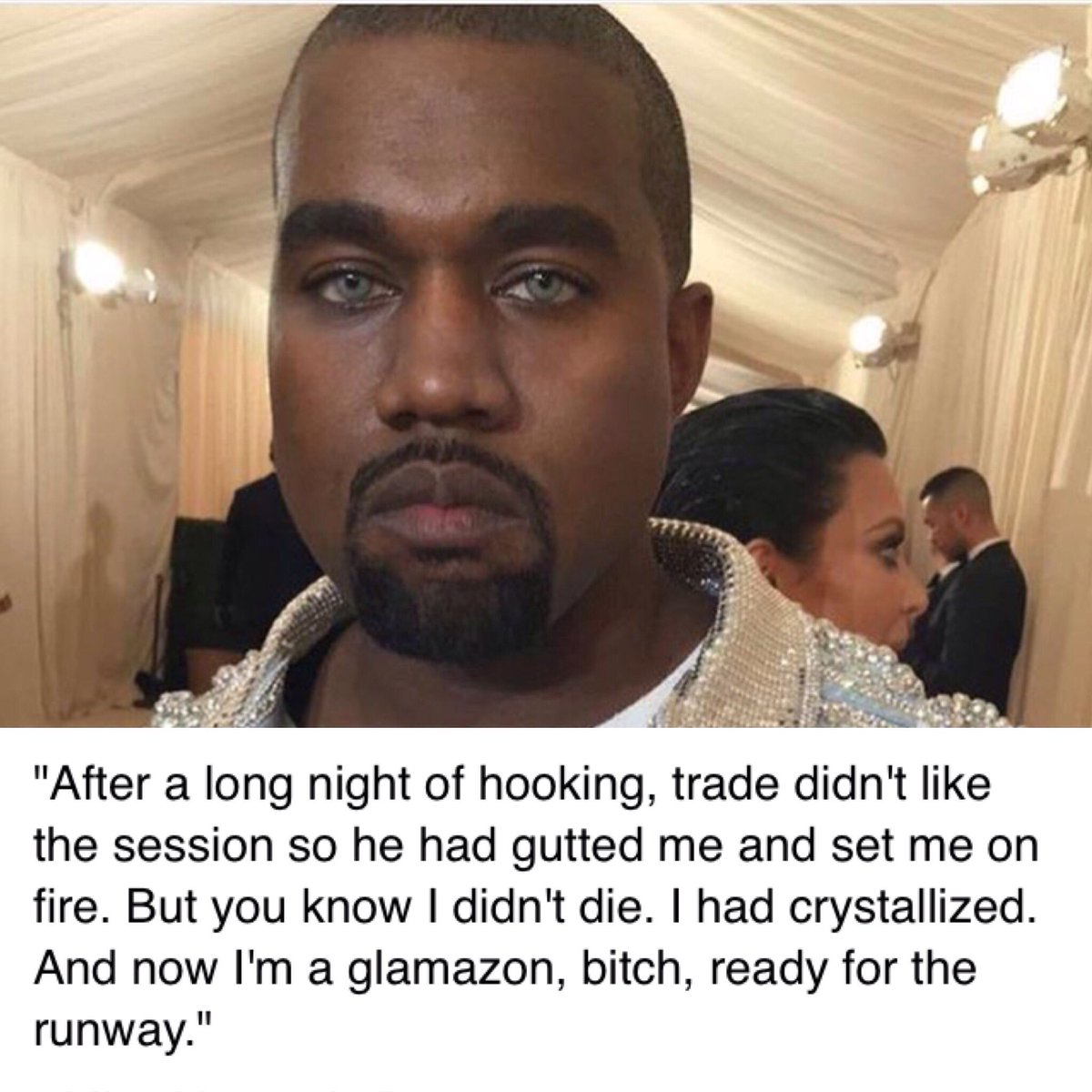 Kanye West lookin like @KENNEDYtheDOLL tonight at the Met Gala https://t.co/fbcOVtg1Qz