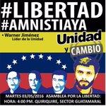 Hoy el líder de la Unidad en Monagas @Warner_Jimenez visitará Quiriquire. ¡Te esperamos! https://t.co/wmviuQ5kBp