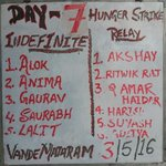 7th day indefinte hunger strike continued, JNU Admin is blind and deaf, cant see critical condsn of ABVP members. https://t.co/N3ALPBM51M