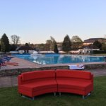 Suns out, sofa out. Were in Cheltenham this morning for @BBCBreakfast. Fancy a dip https://t.co/fhrTeDhaHB