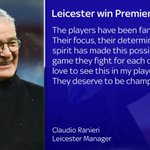 Heres what Leicester manager Claudio Ranieri had to say after his side were crowned champions. #SSNHQ https://t.co/5le6GSbHmA