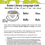 We will be holding monthly Language Cafe sessions next date 22nd May 2-3.45pm. come along and join in. https://t.co/1H3734X9fk