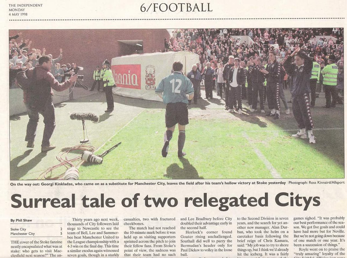 18 years ago today, City were relegated to the 3rd tier. Tomorrow we play Real Madrid in the semi-final of the #UCL https://t.co/joexd5e34X