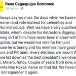 Hes boring,sometimes annoying.But #WeAreForMar bec he is a real statesman. Pls. vote based on merits #RoxasRobredo https://t.co/WPWATAJdoz