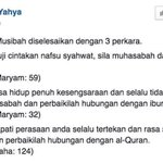 Tiga perkara perlu dijaga.  1. Kualiti solat 2. Hubungan dengan ibu 3. Hubungan dengan Quran  Kredit : Fedtri Yahya https://t.co/FYDlceFTb3
