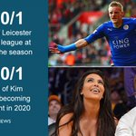 Things bookies thought more likely than Leicester winning Premier League https://t.co/mjztUbbF24 #LCFCChampions https://t.co/aUu4KPHdpZ