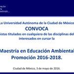 Convocatoria de Maestría en Educación Ambiental 2016-2018. #UACM #UACMAcademia https://t.co/iYZIcm7izp https://t.co/HUBqQ9qaj0