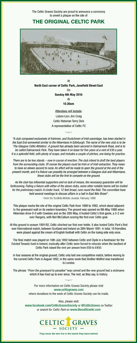 This Sunday 10:30am before the Aberdeen match we will be unveiling a plaque to commemorate the original Celtic Park. https://t.co/7ZmBekRIBv