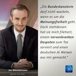 Moderator @janboehm kritisiert in einem Interview @DieZeit Bundeskanzlerin Merkel. #Erdogan #Boehmermann #Satire https://t.co/GRfGyhbLED