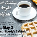 Annual Spring Late Night Breakfast Tonight | Rowdys Cafeteria Doors open @ 8:30 pm Free to McNeese students with ID https://t.co/B3CNiGEVcn