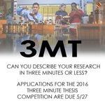 Applications for the 2016 #3MT competition are due 5/27: https://t.co/JclUpCg5Ct #umd @UMDscience @UMDRightNow https://t.co/XIacbz6HsE