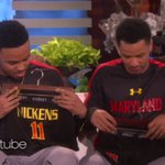 On @TheEllenShow, Jared Nickens and Jaylen Brantley both received, uhh, interesting gifts.  https://t.co/FXTy31IJ6c https://t.co/N2wUr0VHow