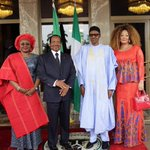 President Buhari and @aishambuhari receive visiting President @PR_Paul_Biya and his wife Chantal at the State House https://t.co/o2RMbDgNRr