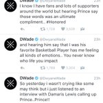 Dwyane Wade speaks out on Prince calling him his favorite basketball player ???? https://t.co/2AuhgH1Rd7
