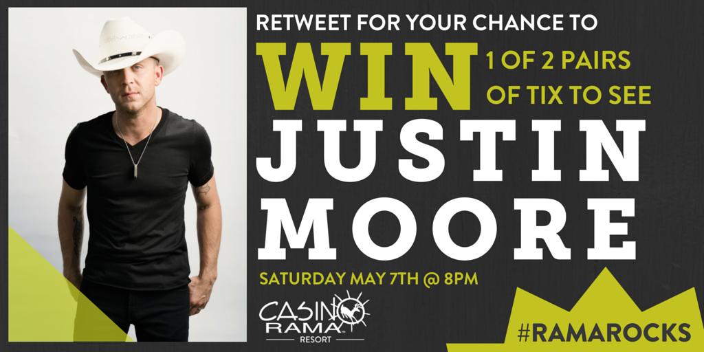 WIN tickets to see #JustinMoore on Saturday! #RamaRocks (winner announced tmr at 5pm) rules: https://t.co/9sAFUeQKio https://t.co/KTYiIjZDay