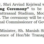 CM Kejriwal will be Chief Guest on occasion of Thanks Giving Ceremony on success of Odd-Even2 at Chattrasaal Stadi… https://t.co/btj1mrdohe