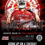 4 weeks from today until the Ragin Cajuns Invade Shreveport!! #GoingUpOnATuesday #318 #CajunInvasion16 #ULive17 https://t.co/VIFflhSdFe