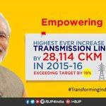 559. #TransformingIndia Highest Ever Increase In Transmission Lines by 28,114 CKM in 2015-16. @narendramodi https://t.co/WRd9eGIvI4