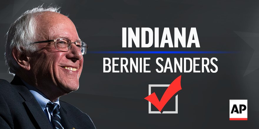 RT : BREAKING: Sanders wins the Indiana Democratic primary. race call at 9:23 p.m. EDT. #Election2016